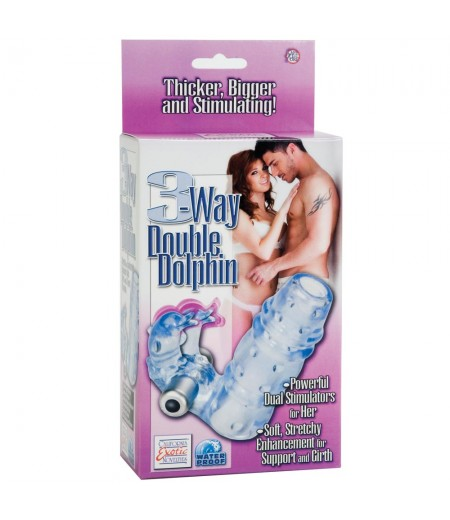 3 Way Double Dolphin Blue Penis Sleeve With Vibrating Bullet